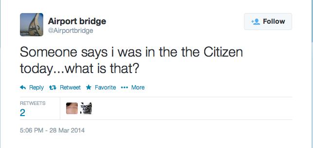 Snapshot of Airport Bridge Twitter account