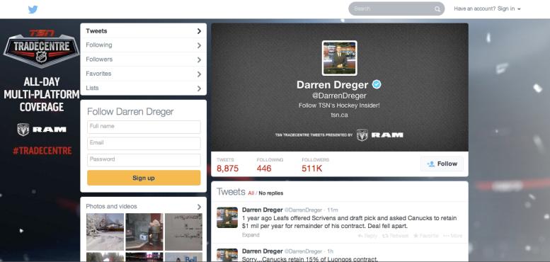 Screenshot of Darren Dreger's Twitter, taken March 4, 2014.