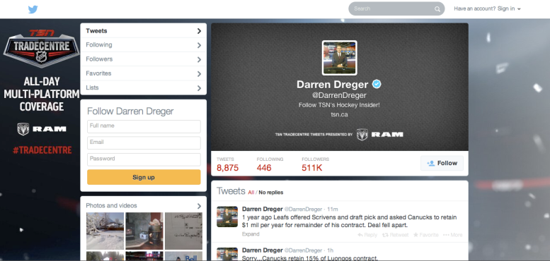 Screenshot of Darren Dreger's Twitter, taken March 4, 2014.