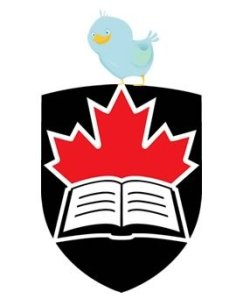 Image of Carleton University logo with Twitter bird on top.