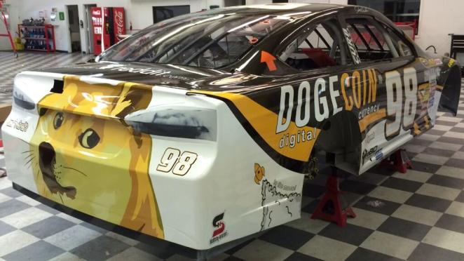 Rear bumper of #98 NASCAR race for Aaron's 499.