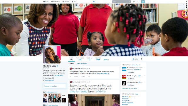 Screenshot of the First Lady's Twitter account