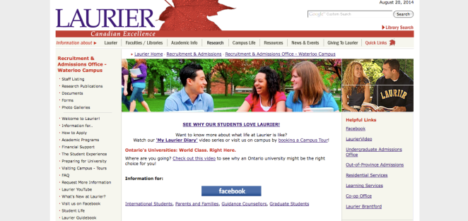 Laurier website screen shot