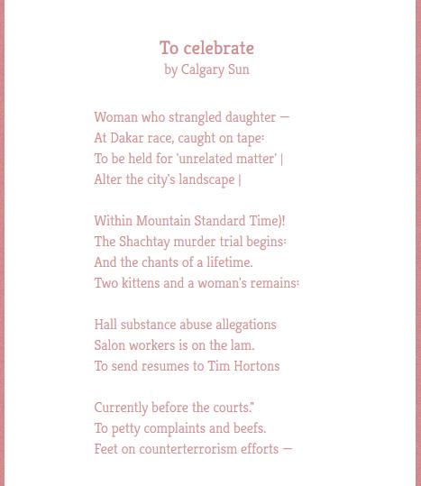 Calgary Sun poem Twitter
