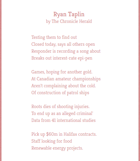 Chronicle Herald poem