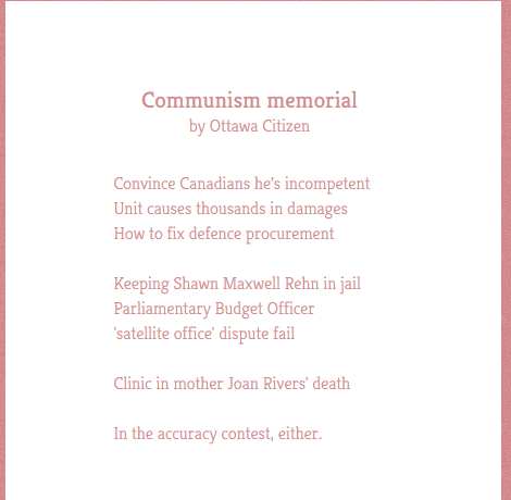 Ottawa Citizen Twitter poem