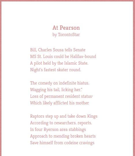 Toronto Star Twitter poem